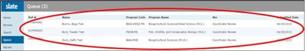 Screen shot of Slate with applicant name circled in queue screen