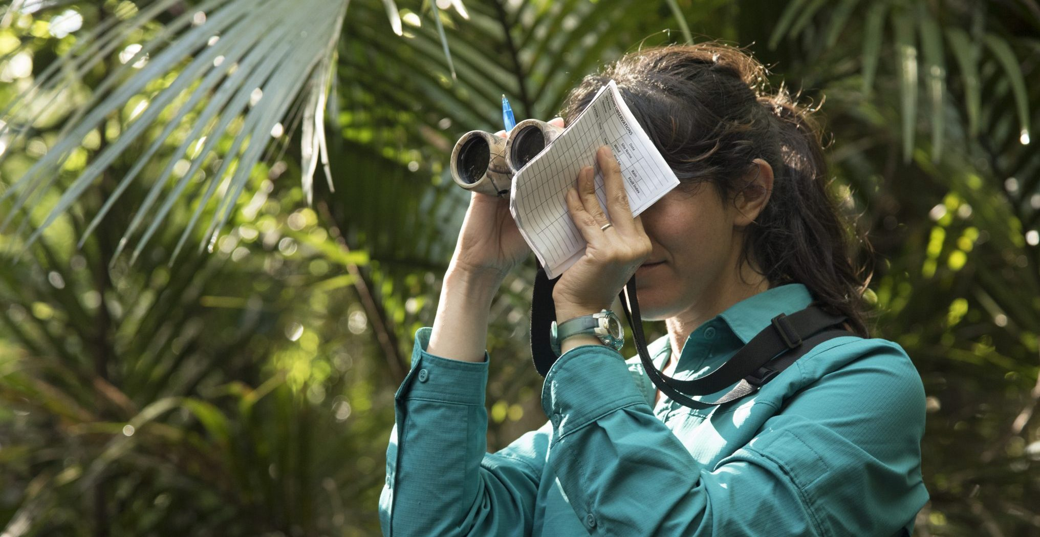 Sara Bombaci doing research in the forest