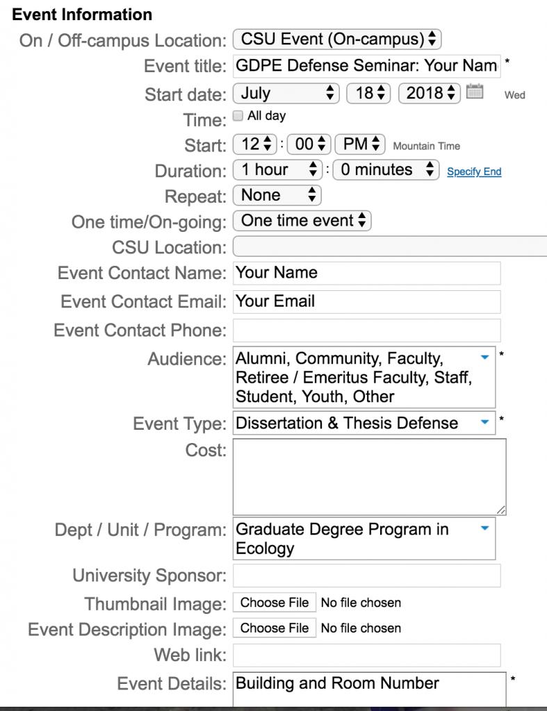Screenshot - Event Calendar Submission